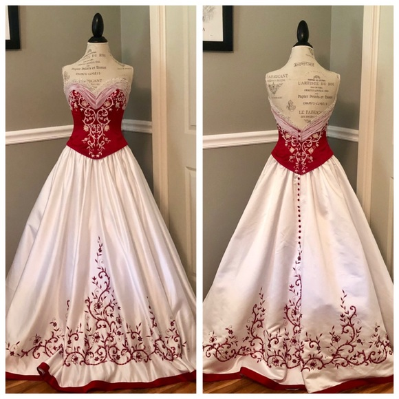 Mary S Bridal Dresses New Red White Wedding Formal Ballgown With Clutch Poshmark
